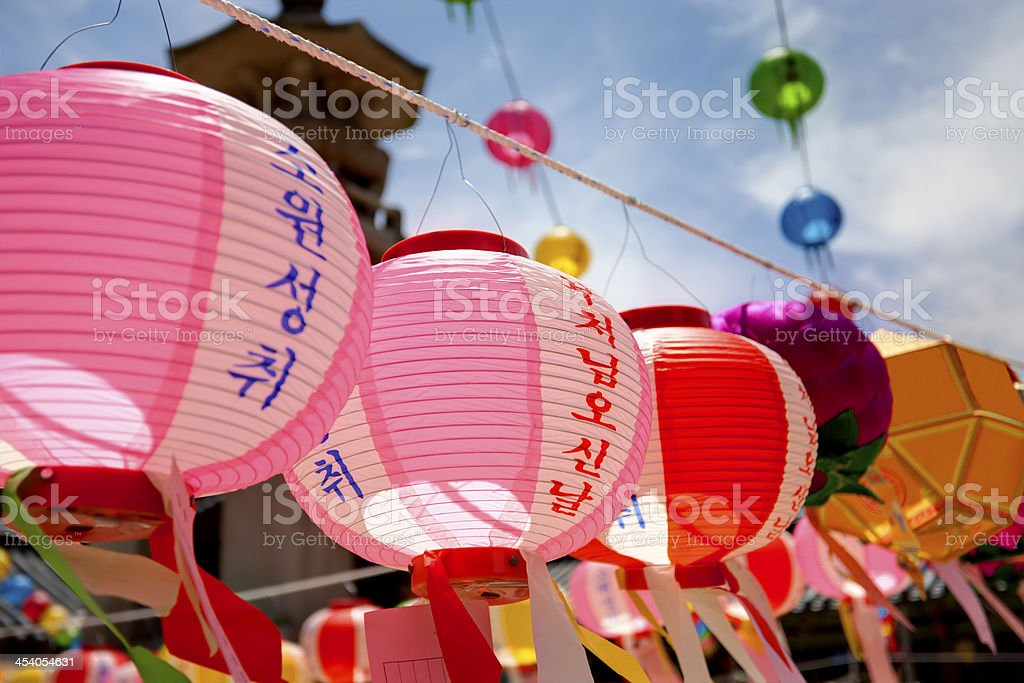 Buddhist lanterns stock photo