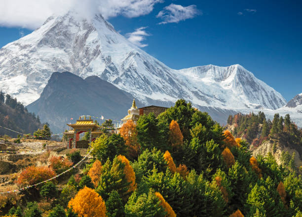 Monasterio budista y monte Manaslu en el Himalaya, - foto de stock