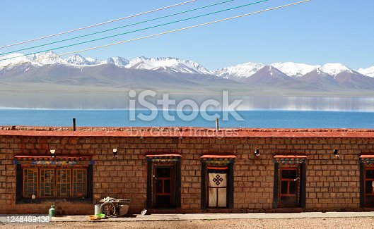 buddhist monastery at namtso lake shore in tibet
