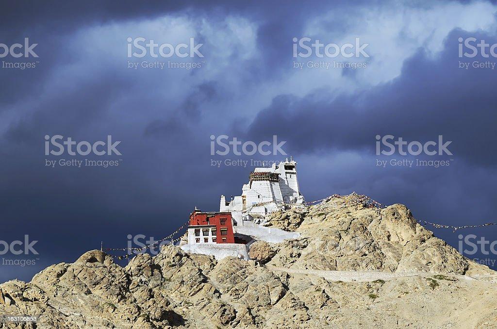 Buddhist monastery in Leh stock photo