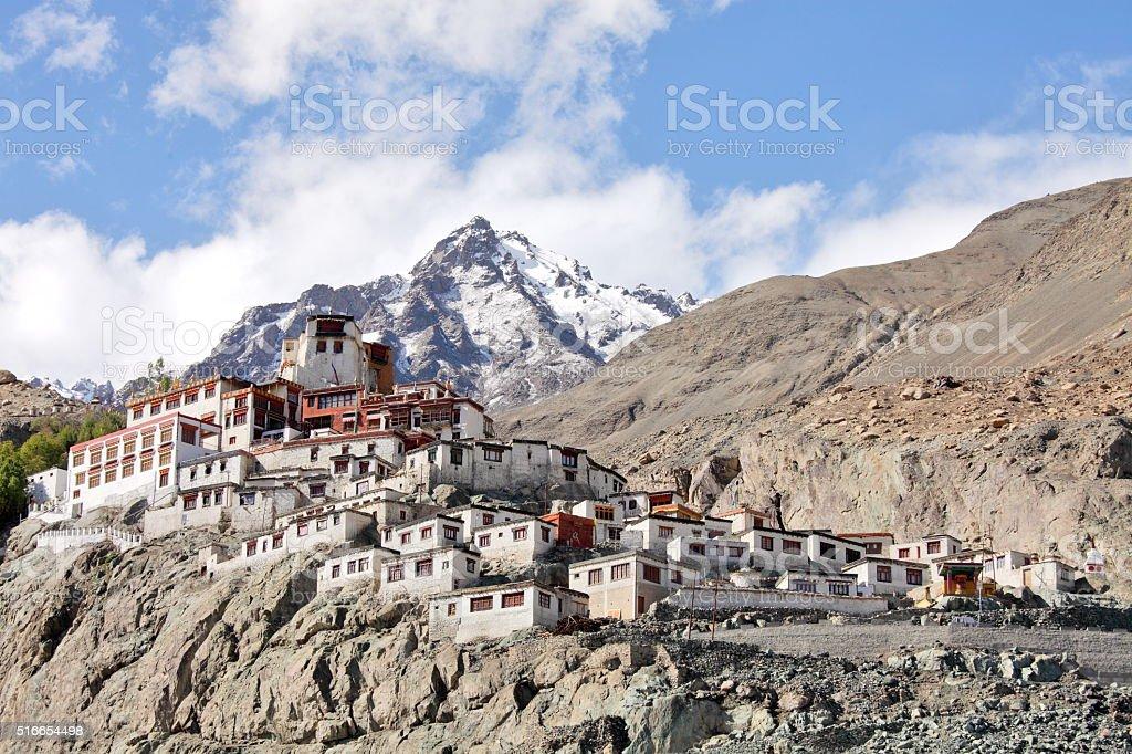 Buddhist monastery in the Himalayas (Ladakh, Kashmir, India) stock photo