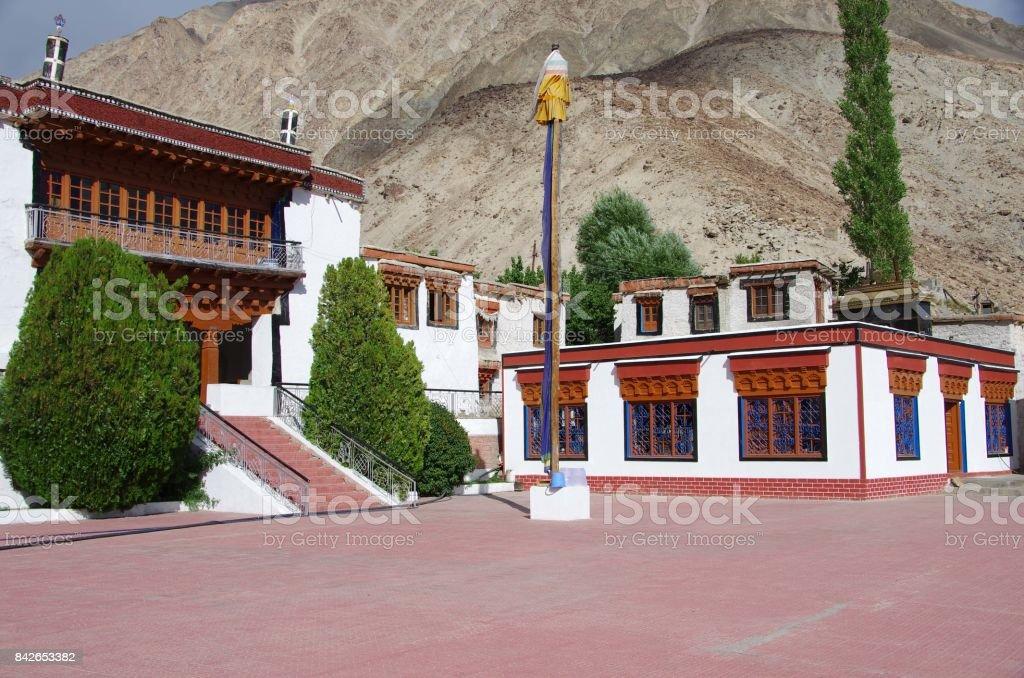 Buddhist monastery in the Nubra valley in Ladakh, India stock photo