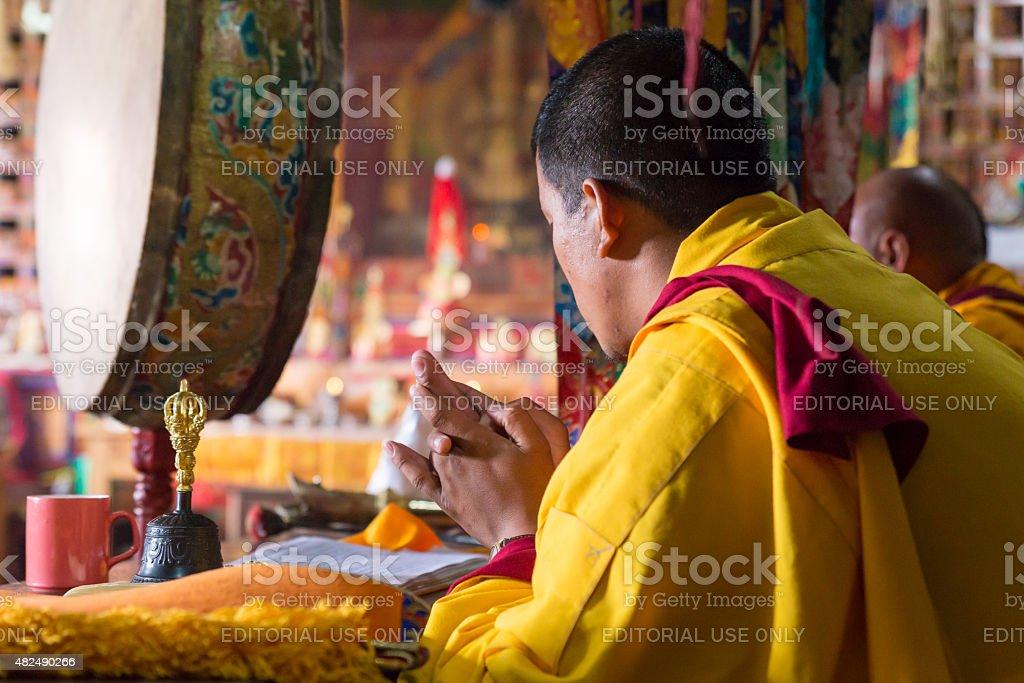 Buddhist monastery monks prayers ceremony, Nepal. stock photo