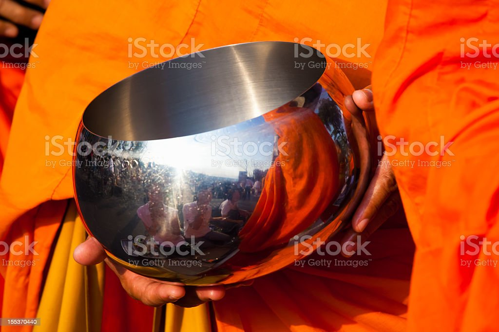 Buddhist Monk Bowl for Alms Giving royalty-free stock photo