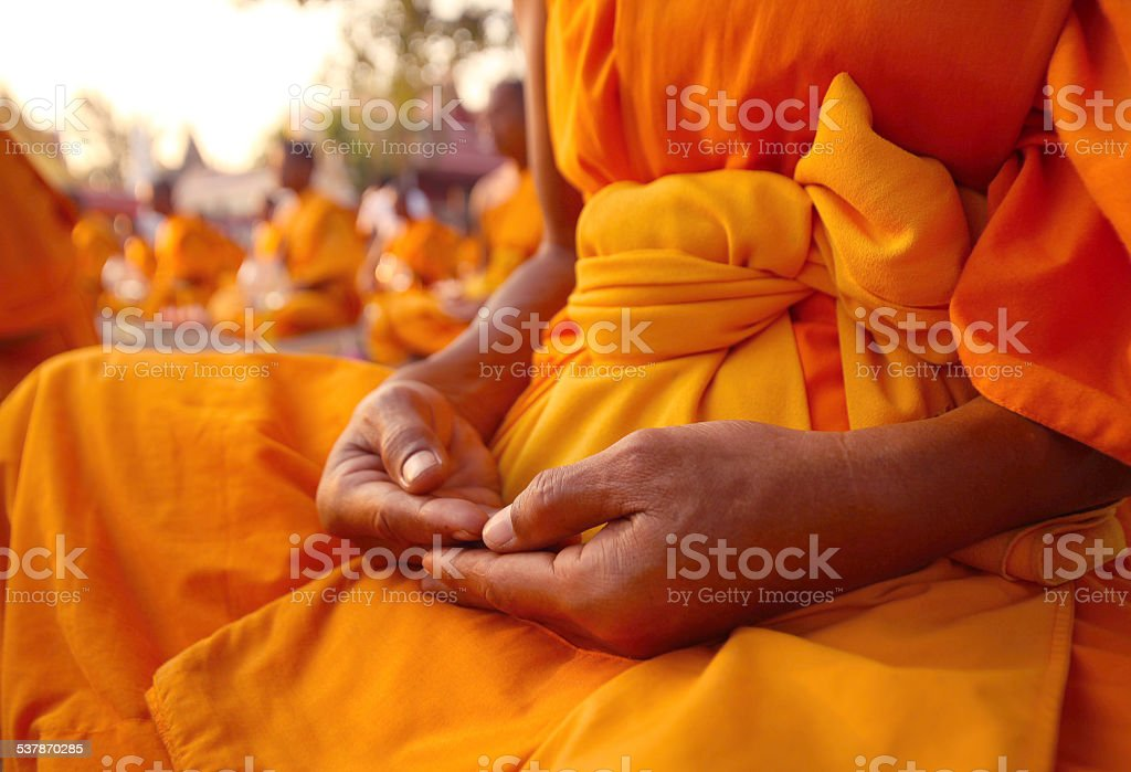 Buddhist monk hand detail, the monk stock photo