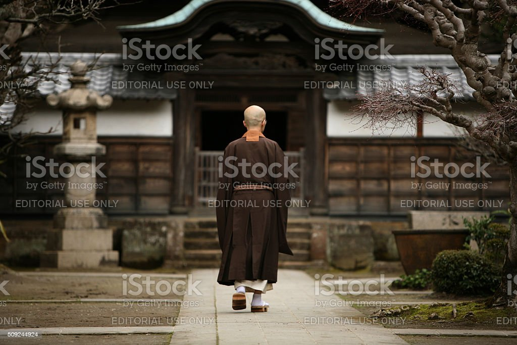 Buddhist monk in Kamakura, Japan. stock photo