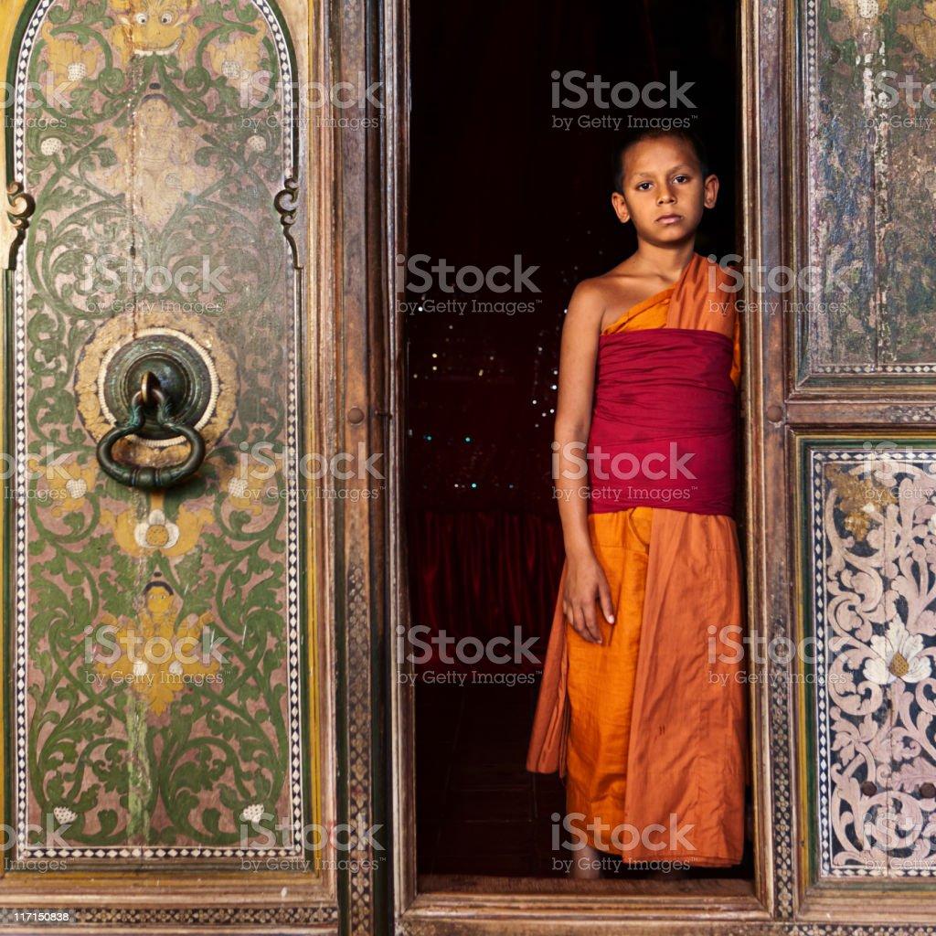 Buddhist monk near Kandy, Sri Lanka stock photo