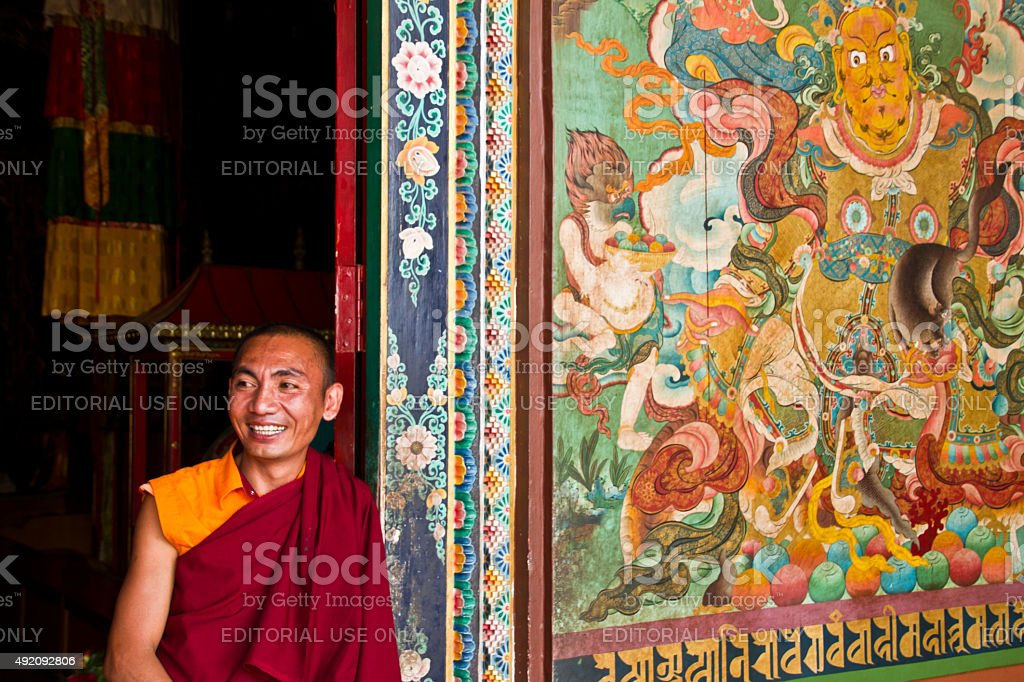 Buddhist monk of Kathmandu Nepal stock photo