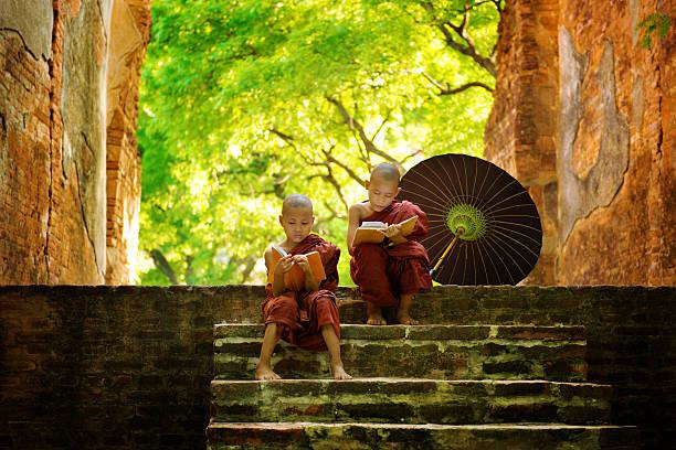 Buddhist monk reading outdoors stock photo