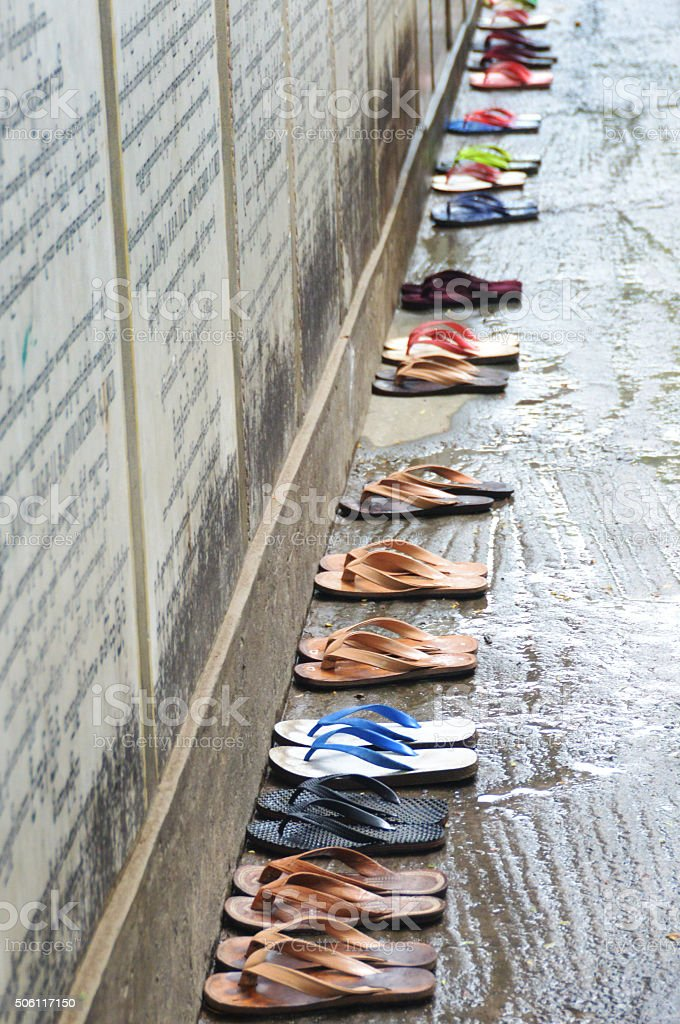 Buddhist Monk Sandal Parking Area stock photo