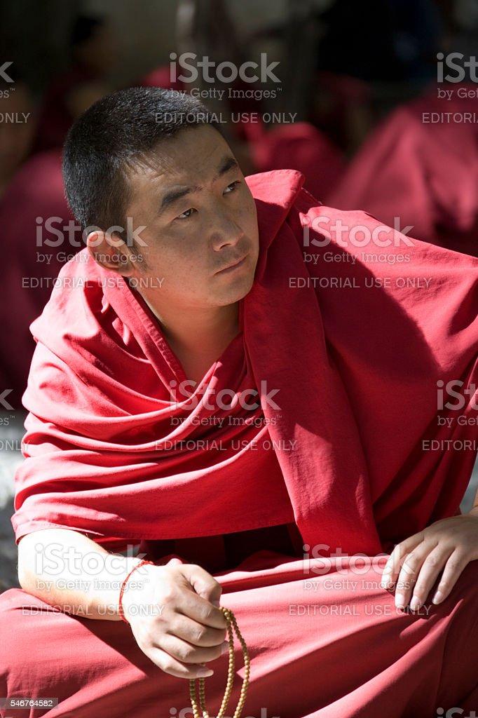 Buddhist Monk - Sera Monastery - Tibet stock photo
