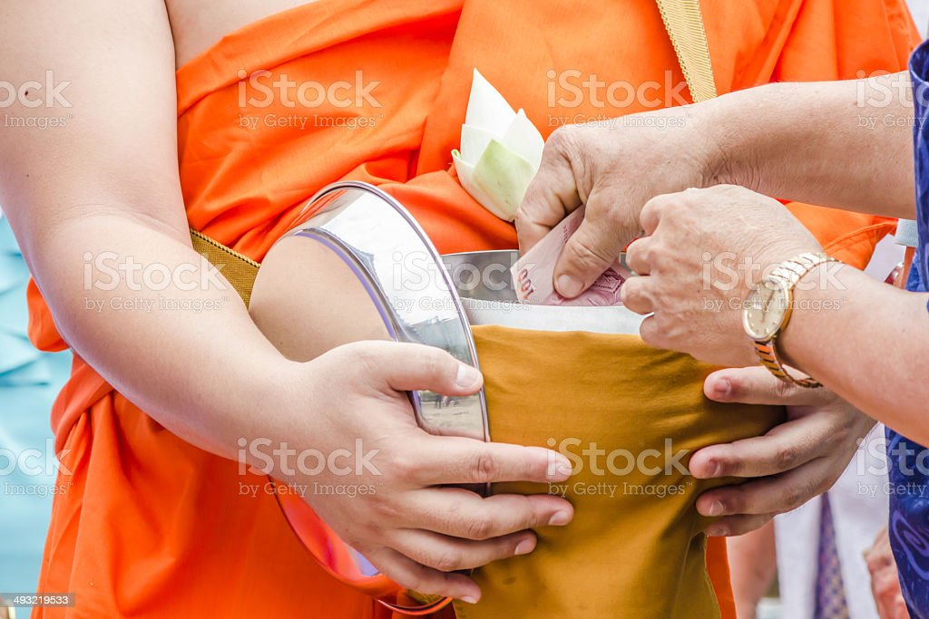 Buddhist monk's alms bowl royalty-free stock photo