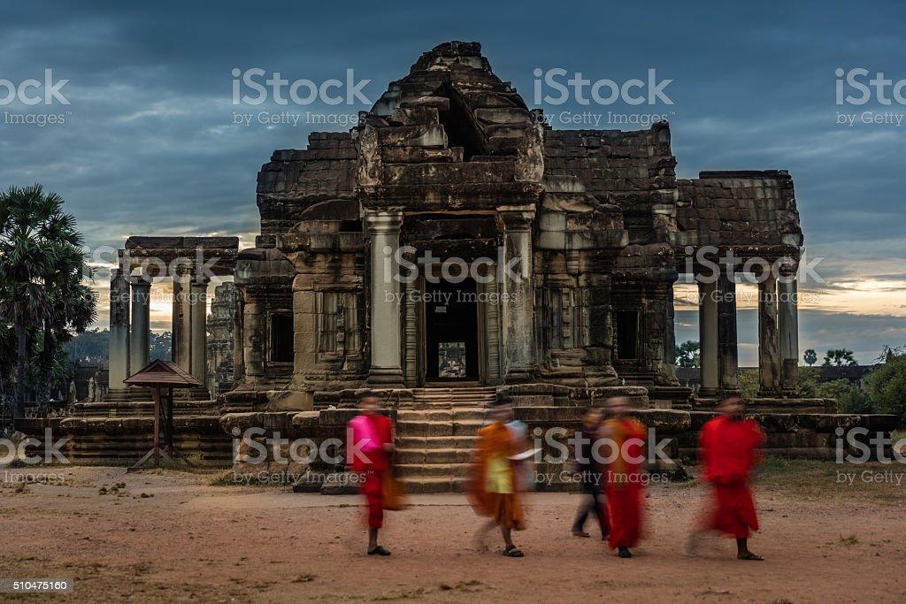 Buddhist Monks Angkor Wat Cambodia stock photo