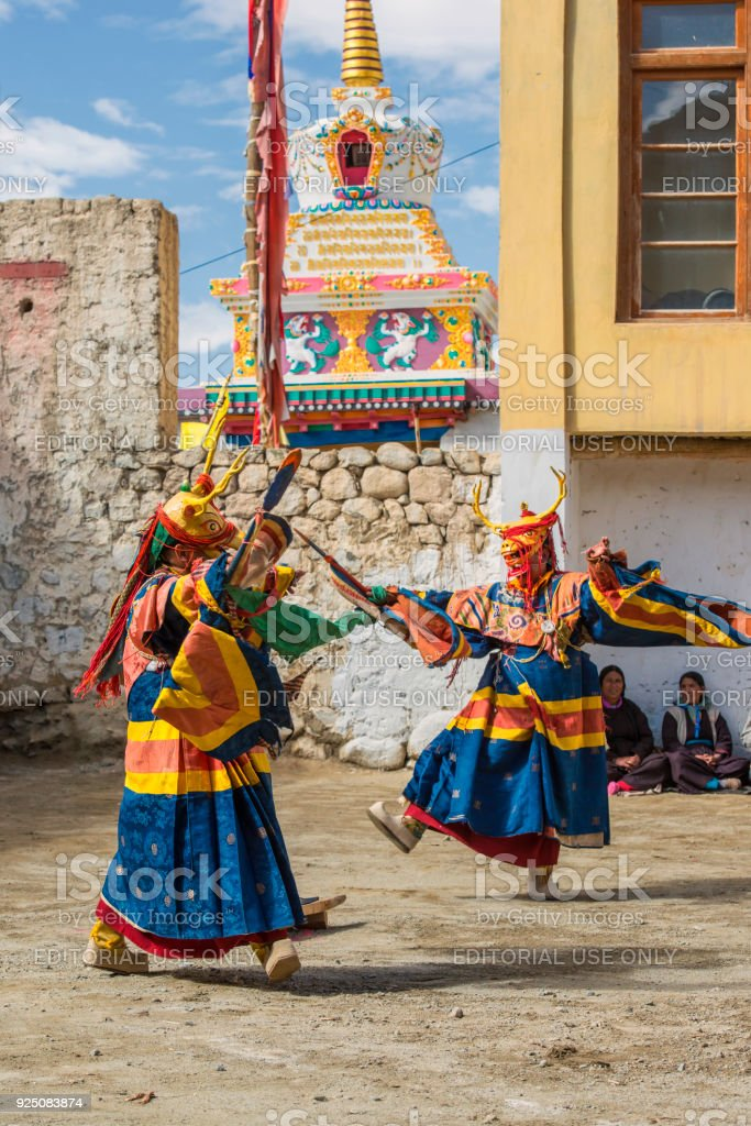 Buddhist Monks Are Performing A Sacred Dance In Ladakh Stock