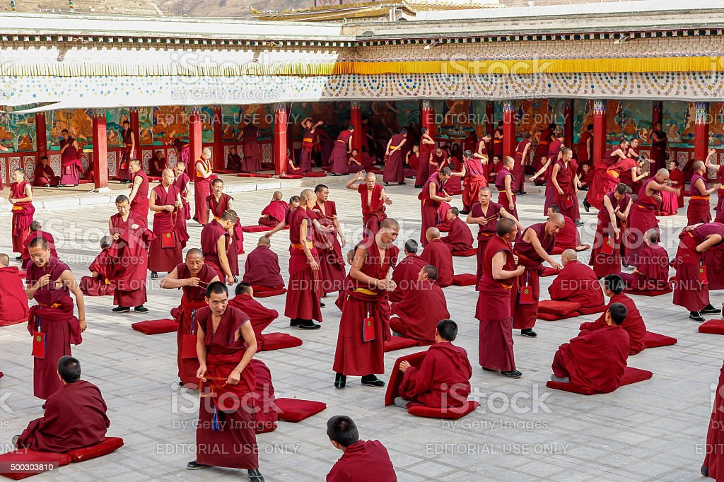 Buddhist Monks Debating stock photo