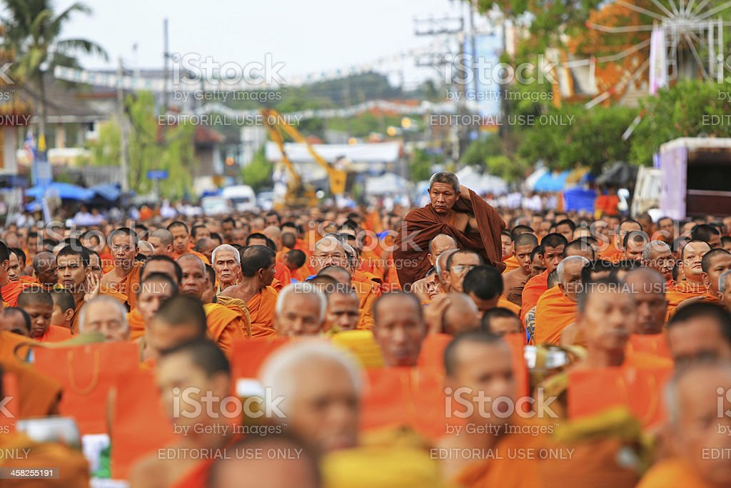 Buddhist monks gather to celebrate Buddha Jayanti royalty-free stock photo