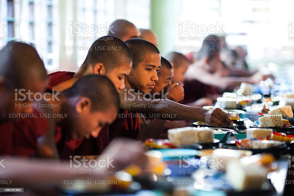 Buddhist Monks in Amarapura, Myanmar stock photo
