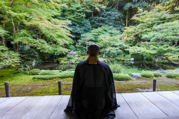 新鮮な緑の中で禅を行う仏教僧 - 座禅 ストックフォトと画像