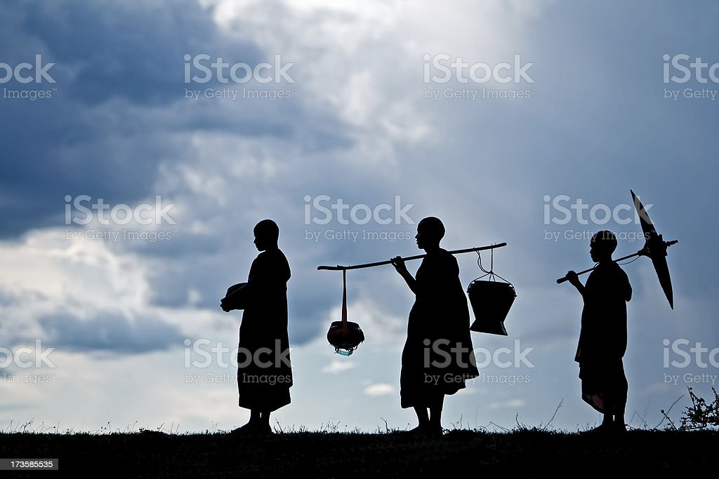 Buddhist monks stock photo