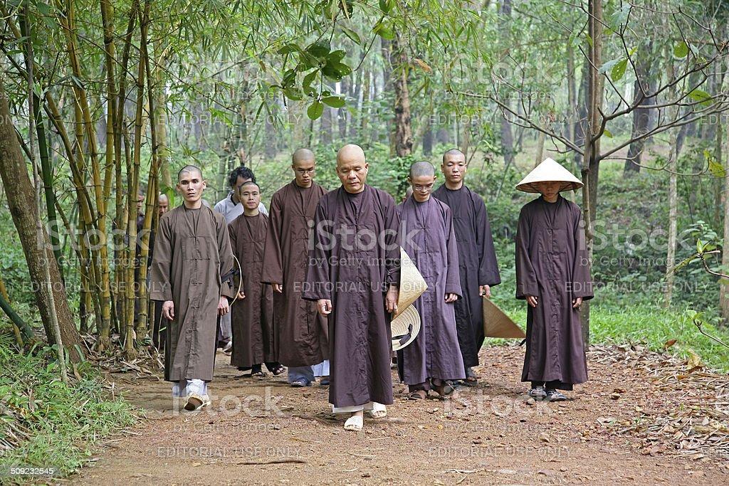 Buddhist monks practicing walking meditation stock photo