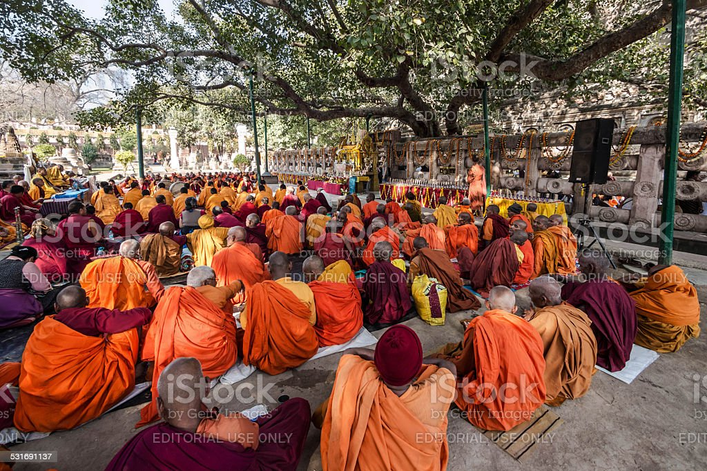 Buddhist Monks Sitting Under the Bodhi Tree, Bodhgaya, India stock photo