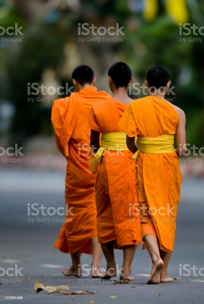Buddhist Monks Walking royalty-free stock photo