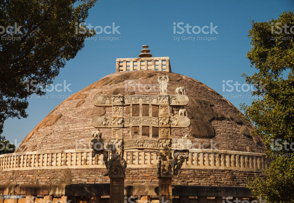buddhist monuments at sanchi stock photo