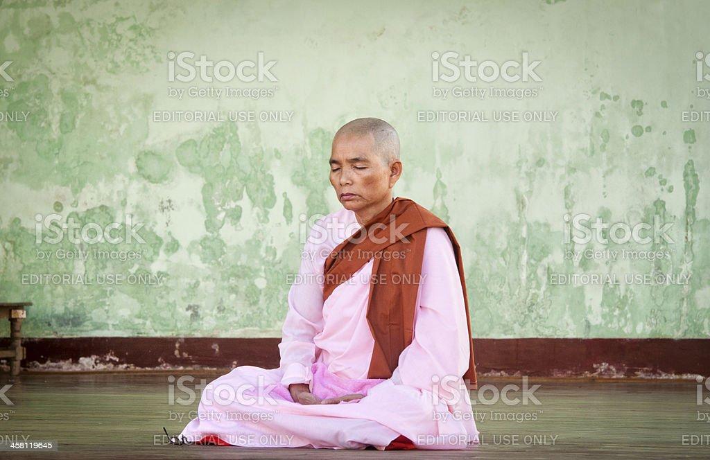 Buddhist nun stock photo