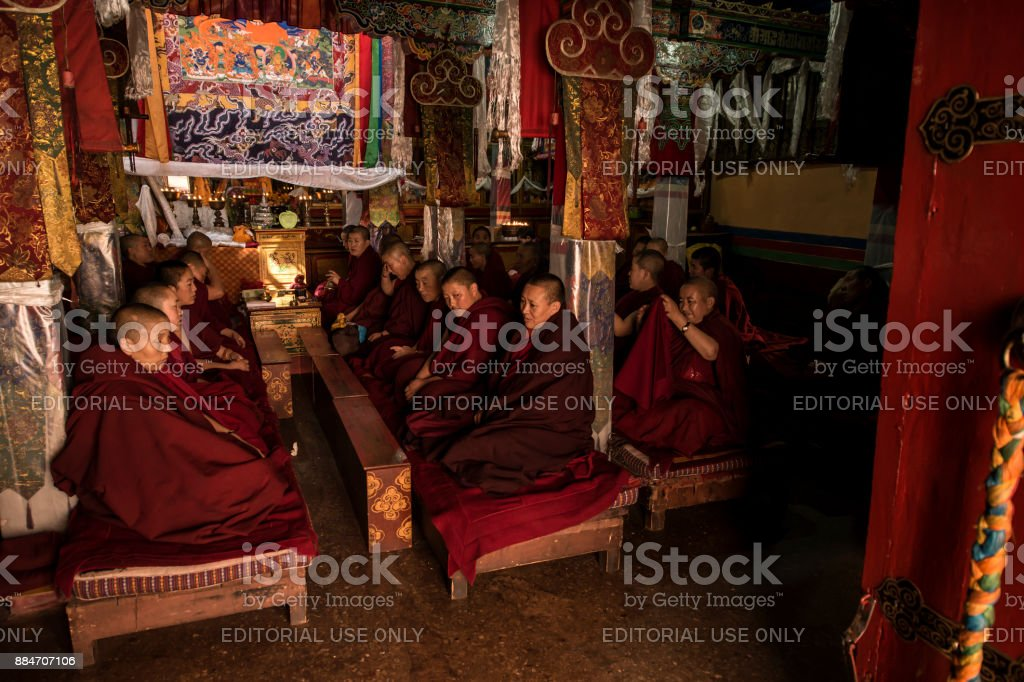 Buddhist nuns during the afternoon Puja, Lhasa, Tibet stock photo