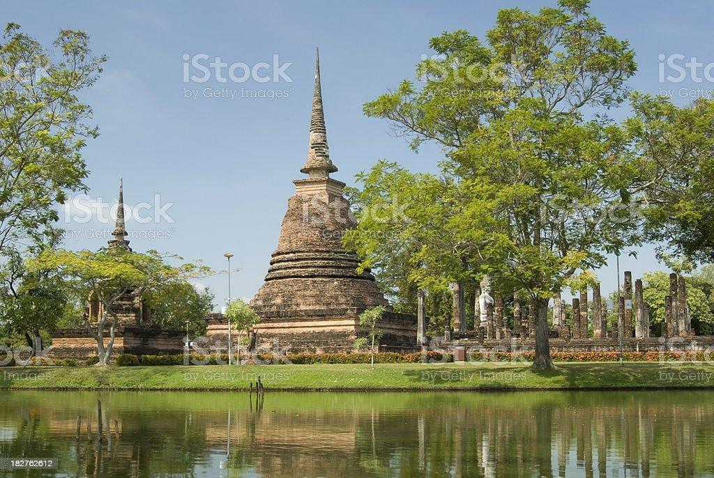 Buddhist pagoda in Sukhothai in Thailand royalty-free stock photo