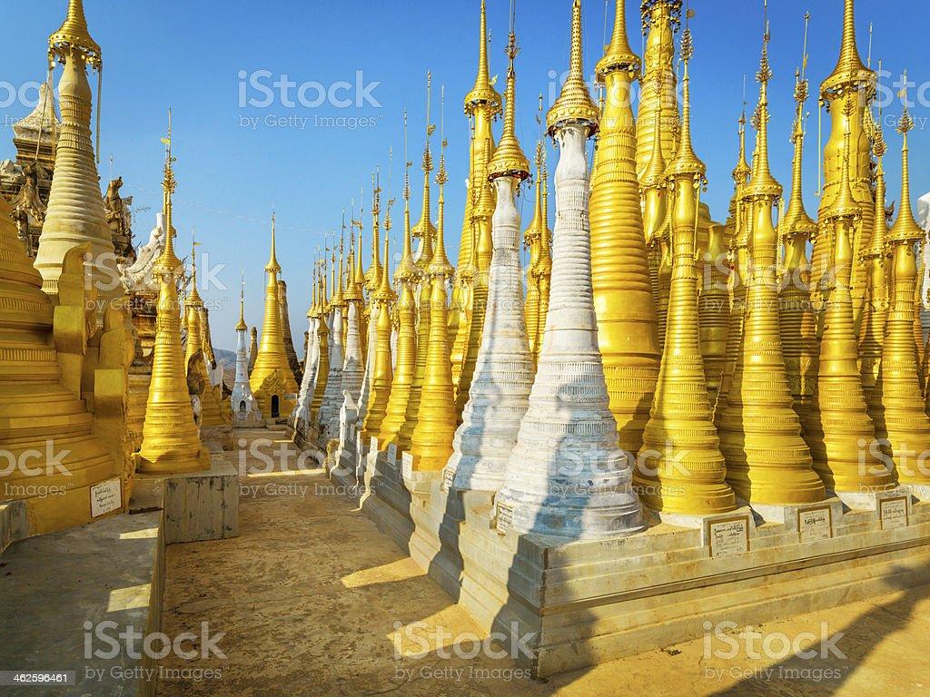 Buddhist pagodas of Indein, Myanmar royalty-free stock photo
