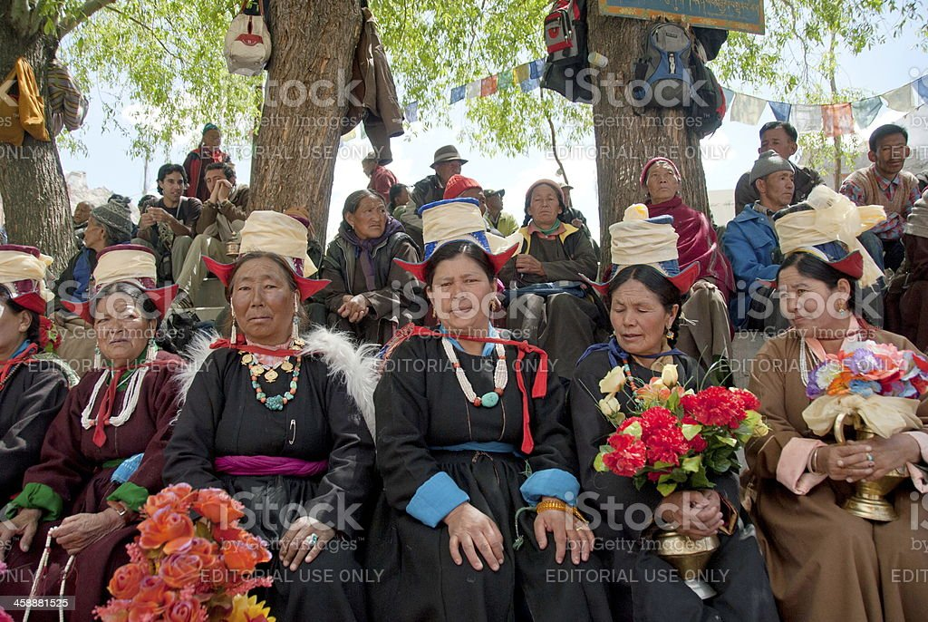 Buddhist pilgrims take part at  puja ceremony in Leh, India. royalty-free stock photo