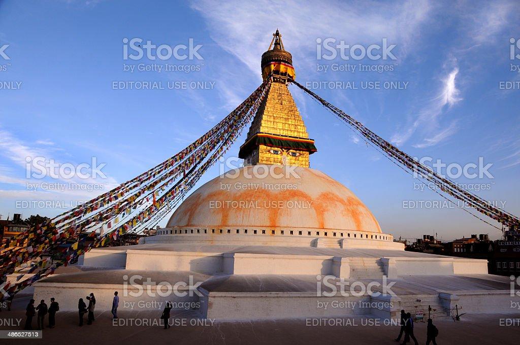 Buddhist prayer flags at Boudhanath Stupa stock photo