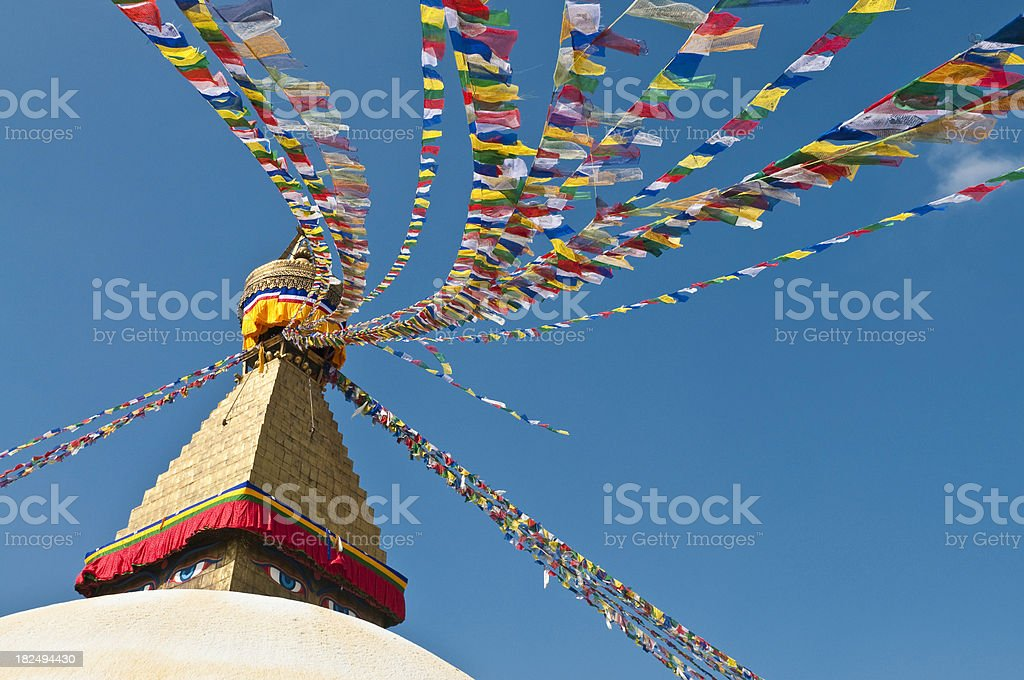 Buddhist prayer flags golden stupa white mandala temple Kathmandu Nepal stock photo