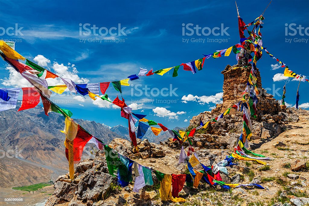 Buddhist prayer flags in Himalayas stock photo