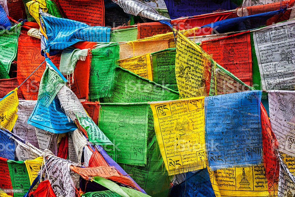Buddhist prayer flags lungta with prayers, Ladakh stock photo