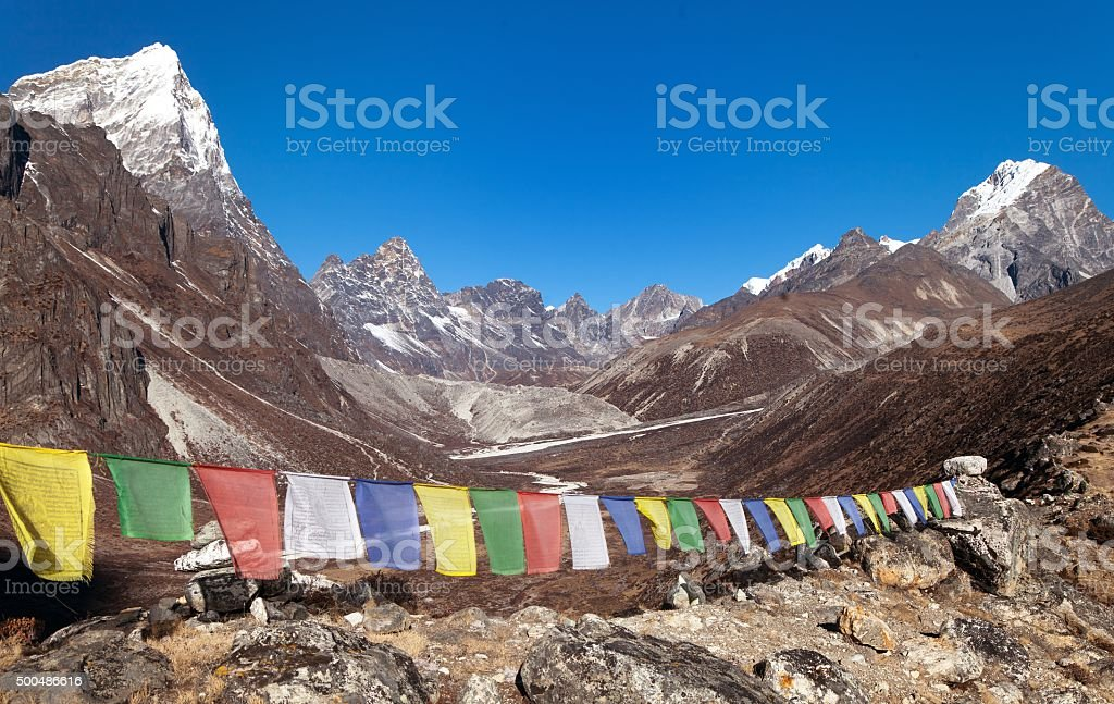 Buddhist prayer flags near Dusa village stock photo