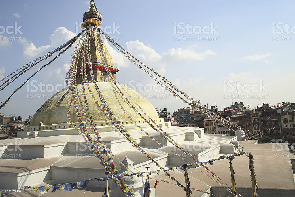 Buddhist prayer flags. Stupa of Boudhanath-Bodhnath. Kathmandu-Nepal. 0311 royalty-free stock photo