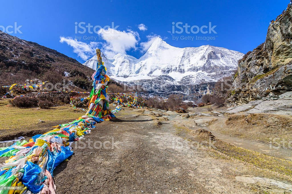 Buddhist prayer flags the holy traditional flag along site the way stock photo