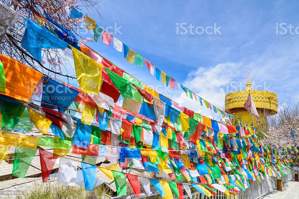 Buddhist prayer flags the holy traditional flag stock photo