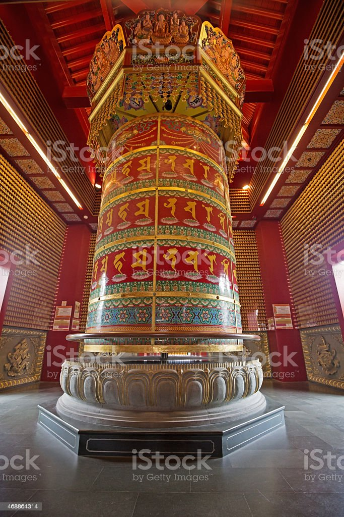 buddhist prayer wheel stock photo