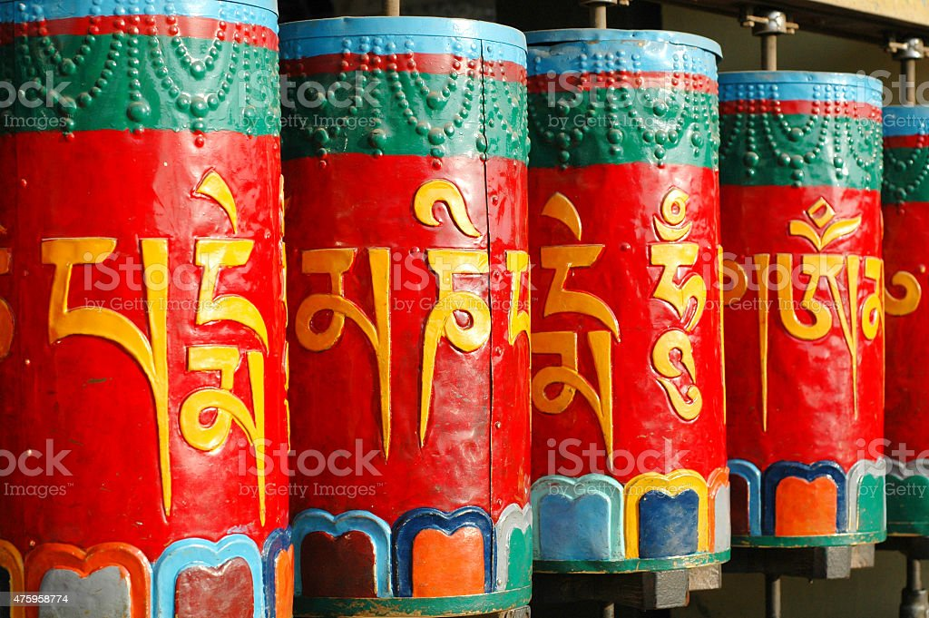 Buddhist prayer wheels in Dharamshala. stock photo