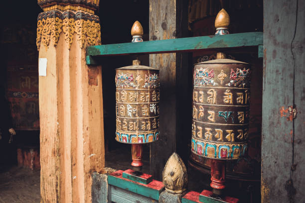 Buddhist prayer wheels in Trongsa Dzong, Bumthang, Bhutan stock photo