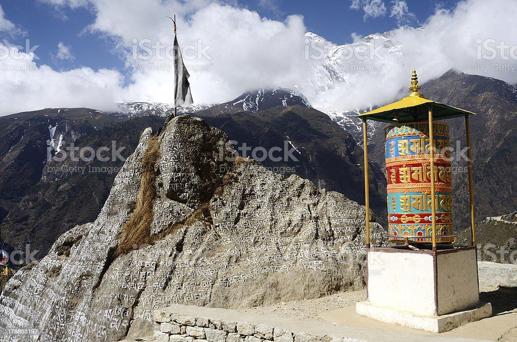 Buddhist prayer wheels near Namche Bazaar,Eastern Nepal stock photo