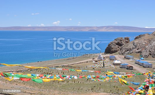 buddhist prayers flags at the namtso lake in tibet