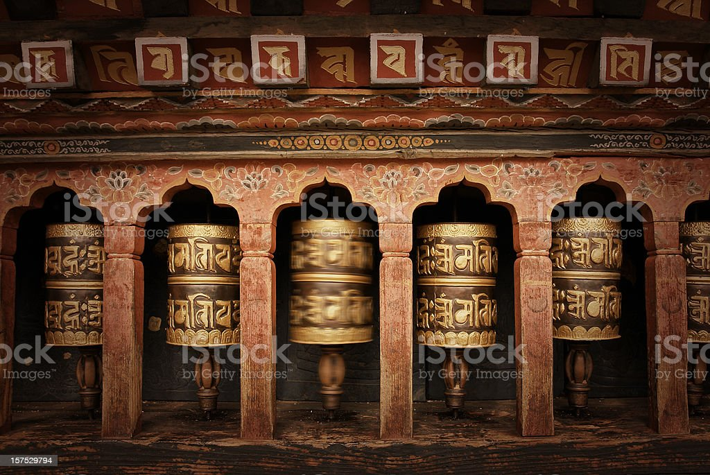 Buddhist Praying Wheels stock photo