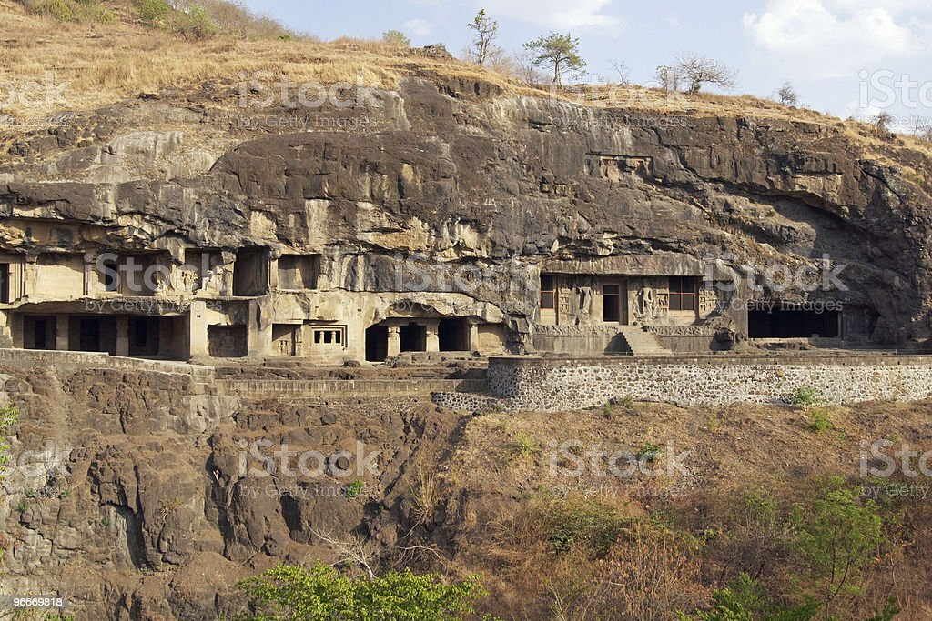 Buddhist Rock Temples at Ellora Caves royalty-free stock photo