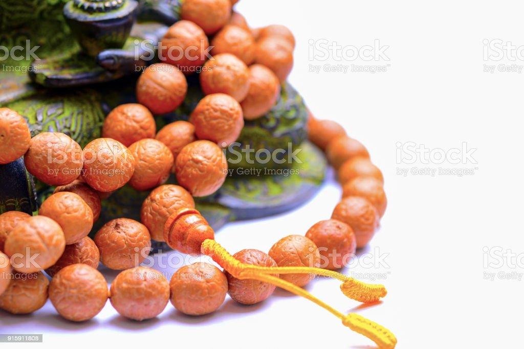 Buddhist rosary with buddha tree stock photo