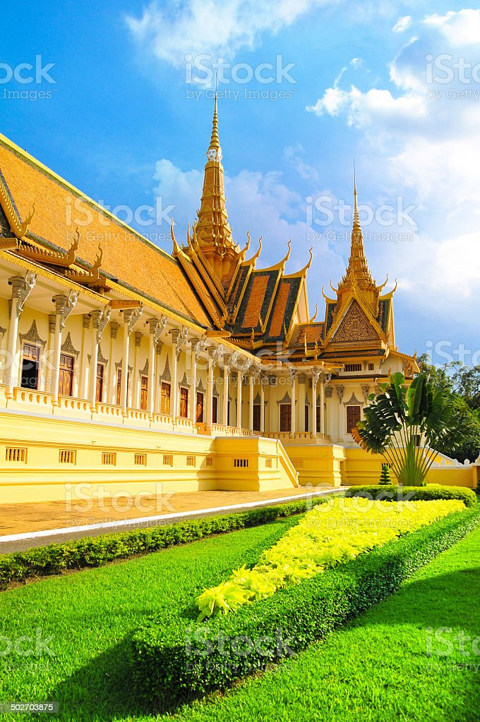 Buddhist royal palace on sunny day in Phnom Phen, Cambodia. stock photo