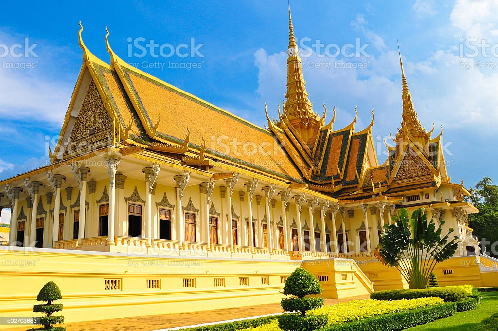 Buddhist royal palace on sunny day in Phnom Phen, Cambodia stock photo